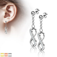 PAIR Ball Stud Earrings w/ CZ Gem Paved Infinity Dangles 316L Surgical Steel 20g