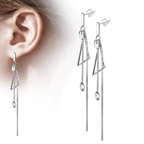 PAIR Chain Stud Earrings w/ Abstract Dangles 316L Surgical Steel 20g
