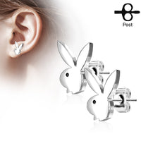 PAIR Playboy Bunny Earrings 20g Butterfly Clasp 316L Stainless Steel