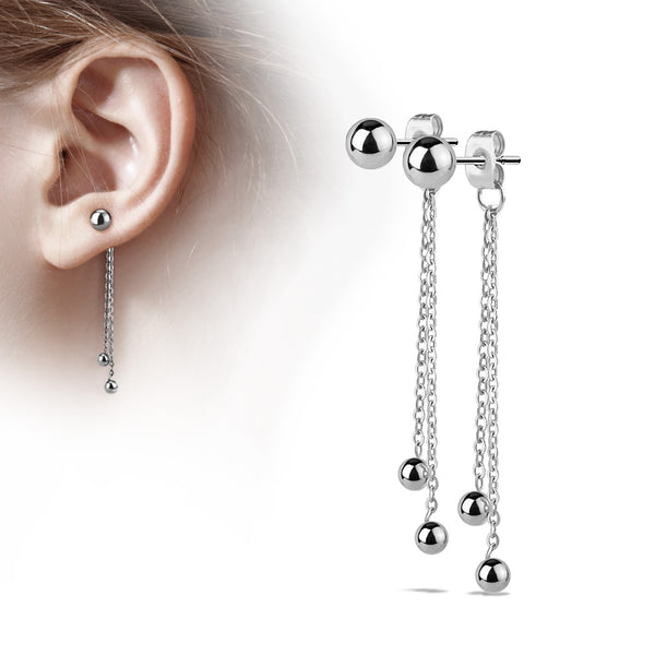 PAIR of Two Chain Free Falling Steel Balls 20g Earrings