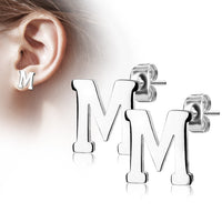 Alphabet Initial Earrings 316L Stainless Steel