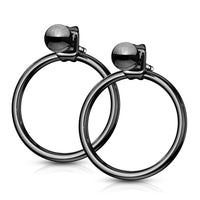 PAIR of Ball End IP Stainless Steel 20g Earrings w/ Hoop Back