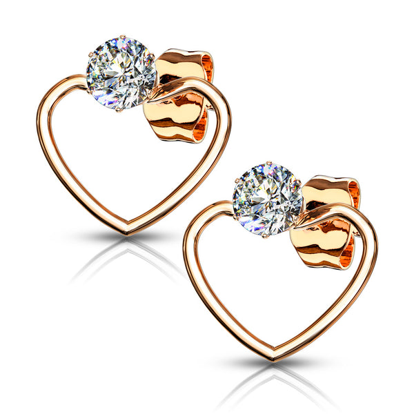61ca42f1f PAIR of CZ Gem Solitaire IP Stainless Steel 20g Earrings w/ Heart – JSW  Body Jewelry