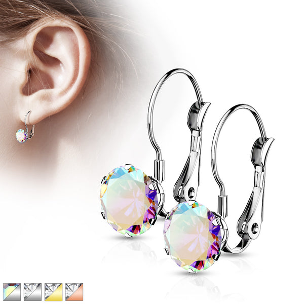 PAIR of Round CZ Gem Earrings w/ Lever Back 20g 316L Stainless Steel