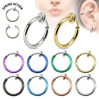 8pcs Spring Action Fake Faux Septum, Nose Hoop, Lip Ring, Earring