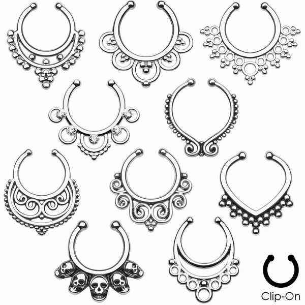 10pcs Mixed Style Non-Piercing Septum Hangers (choose silver, gold or rose gold)