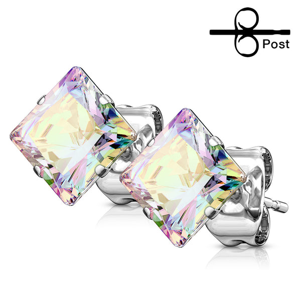 f52bf7757 PAIR 316L Surgical Steel Square CZ Gem Stud Earrings – JSW Body Jewelry