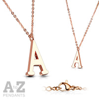 Alphabet Initial Necklace w/ Rose Gold IP 316L Stainless Steel Pendant
