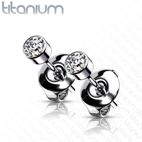 PAIR Bezel Set CZ Gem Stud Earrings 6AL-4VELI ASTM F-136 Implant Grade Titanium
