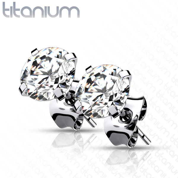 PAIR Prong Set CZ Gem Stud Earrings 6AL-4VELI ASTM F-136 Implant Grade Titanium