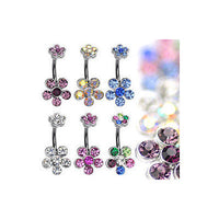 6pcs Double Flower Belly Rings 14g Naval Navel