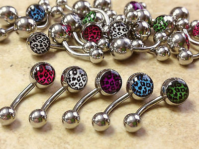 25pcs Leopard Print Belly Rings Navel naval