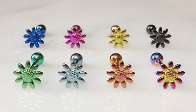 8pcs Titanium Daisy Flower Tongue Rings
