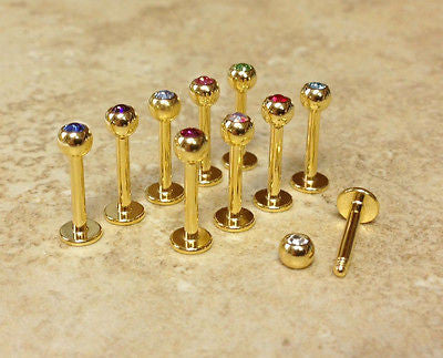 10pcs - 24kt Gold Plated Gem Labrets - 10pcs