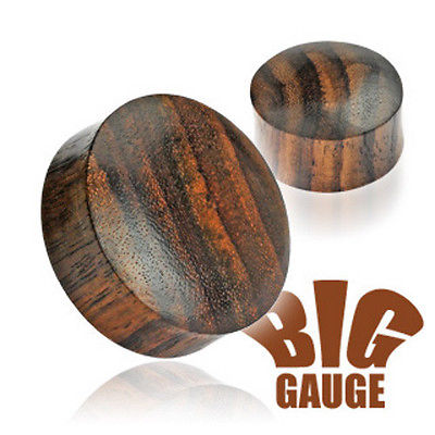 PAIR Brown Sono Wood Saddle Fit Plugs