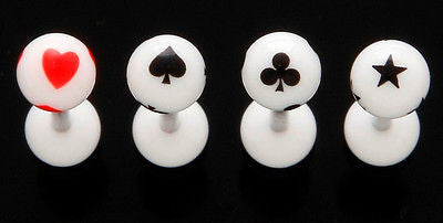 20pcs Poker Clubs Spades Hearts Star UV Acrylic Tongue Rings