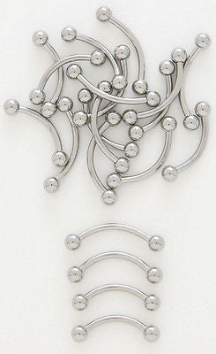 10pk Steel Curved Barbells Eyebrow Belly Rings
