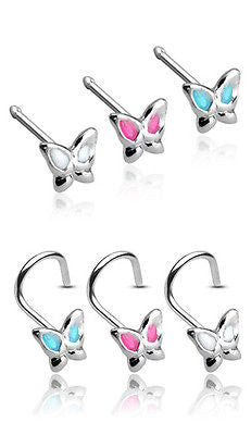 3pk .925 Sterling Silver Epoxy Butterfly Nose Rings, Studs or Screws