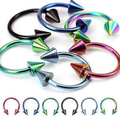 12pcs Titanium Circular Spiked Barbells Horseshoes