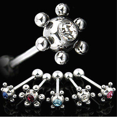 5pcs Atom Ball Gem Tongue Rings