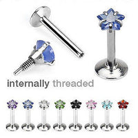 8pcs Internally Threaded Surgical Steel Gem Labrets 16g Wholesale Body Jewelry