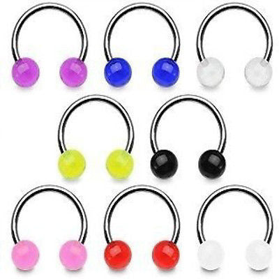 16pcs UV Ball Circular Barbells Horseshoes