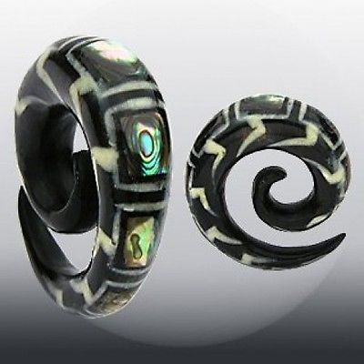 PAIR Organic Abalone Inlay Horn Spiral Tapers