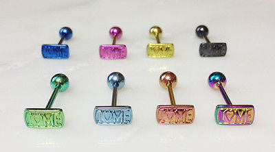 8pcs Titanium Anodized I LOVE ME Tongue Rings