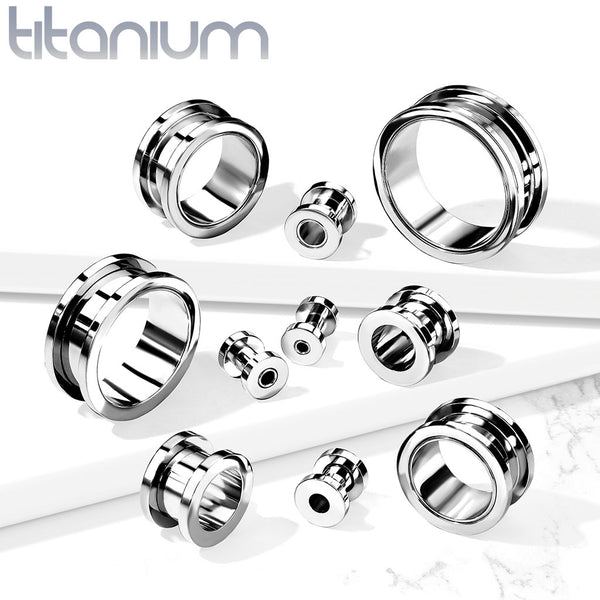 PAIR Solid Implant Grade Titanium Screw Fit Tunnels Plugs Gauges Body Jewelry
