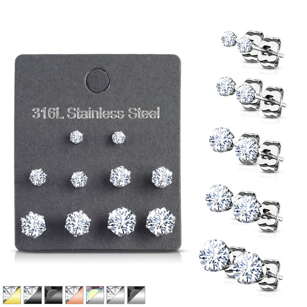 5 PAIR CZ Gem Stud Earrings 316L Stainless Steel retail / display peggable card