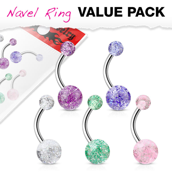 5pc Value Pack Ultra Glitter Belly Rings 14g Navel Naval Body Jewelry (B358)