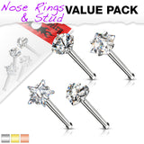 4pc Value Pack Prong Set Shaped Gem Steel Nose Studs Bones Rings
