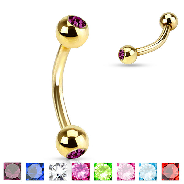 8pcs Gold Plated Gem 16g Eyebrow Rings