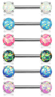 PAIR Synthetic Opal Glitter Nipple Rings