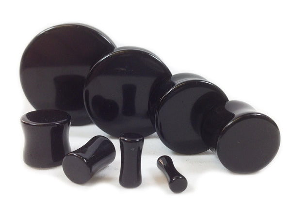 Stone Plugs Black Onyx Organic - by the pair