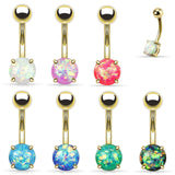 1pc Solitaire Opal Glitter Gem Belly Ring