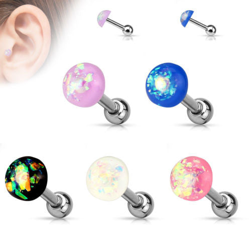 5pcs Opal Glitter Dome Top Tragus Stud Rings