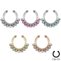 1pc Non-Piercing Line CZ Gem Septum Hanger