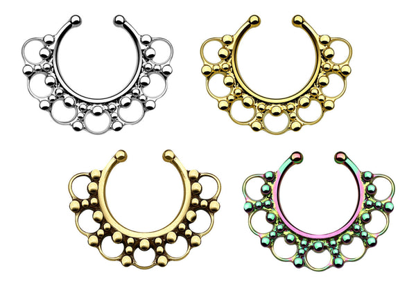 1pc 100% SURGICAL STEEL Non-Piercing Septum Hanger Tribal Fan