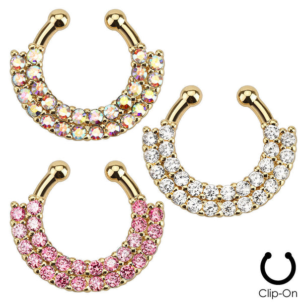 1pc Non-Piercing Gold Double Line Paved Gem Septum Hanger