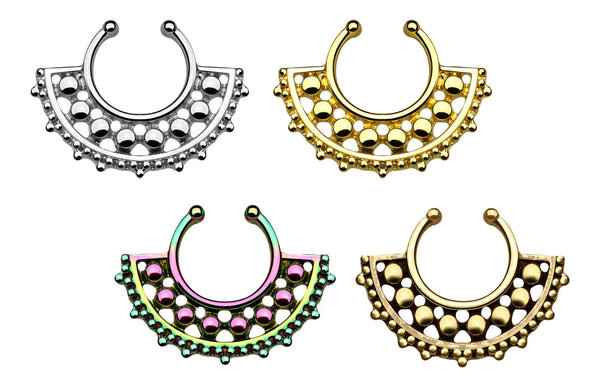 1pc 100% SURGICAL STEEL Non-Piercing Septum Hanger Beaded Large Fan