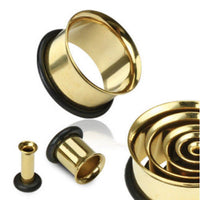 PAIR Gold Plated Steel Single Flare Tunnels