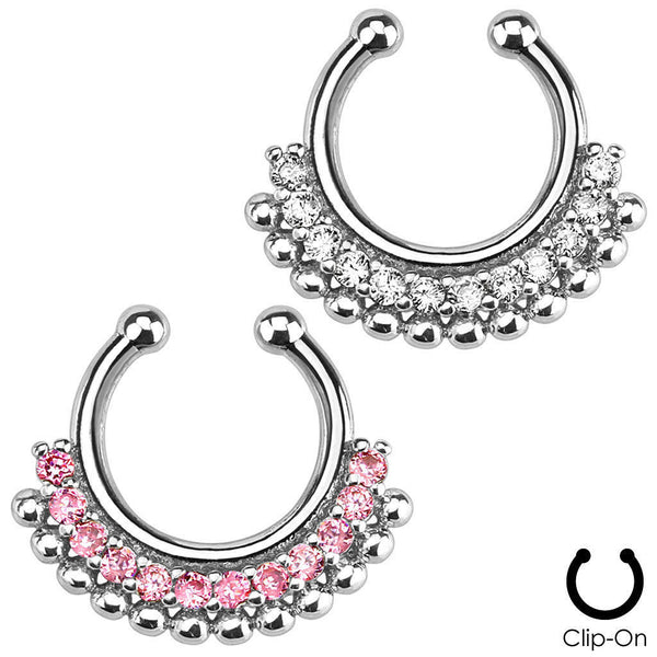 1pc Non-Piercing Paved Gem Fan Septum Hanger