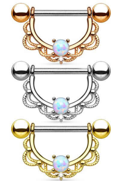 PAIR Opal Center Filigree Drop Nipple Shields Rings