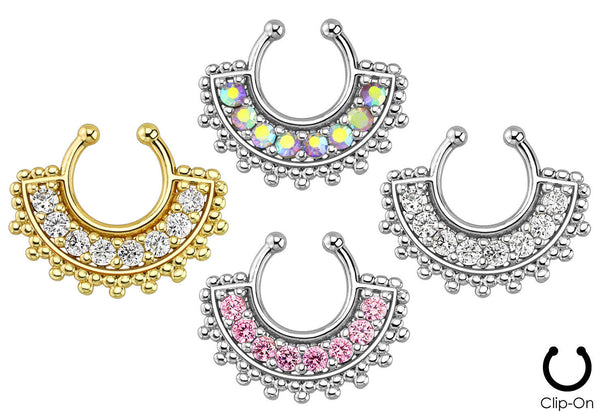 1pc Non-Piercing Fan Paved Gem Septum Hanger