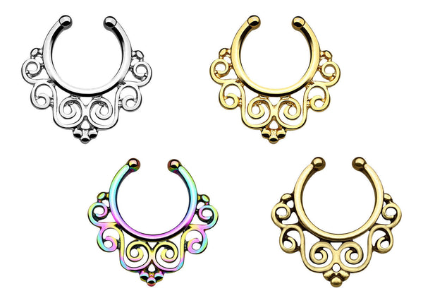 1pc 100% SURGICAL STEEL Non-Piercing Swirling Floral Septum Hanger