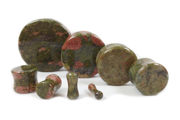 Stone Plugs Unakite Organic - by the pair
