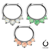 1pc Opalites 5-Gem Septum Clicker 316L Surgical Steel 16g Nose Ring