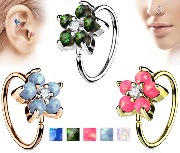 1pc Opal Glitter Flower Hoop Nose / Cartilage Ring