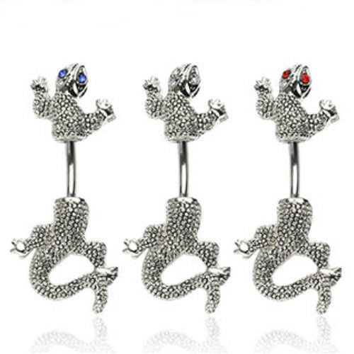 3pcs Chameleon with Gem Eyes Gecko Belly Rings Navel naval